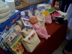 Bloom's selection of prefolds and pocket diapers ready for the class!