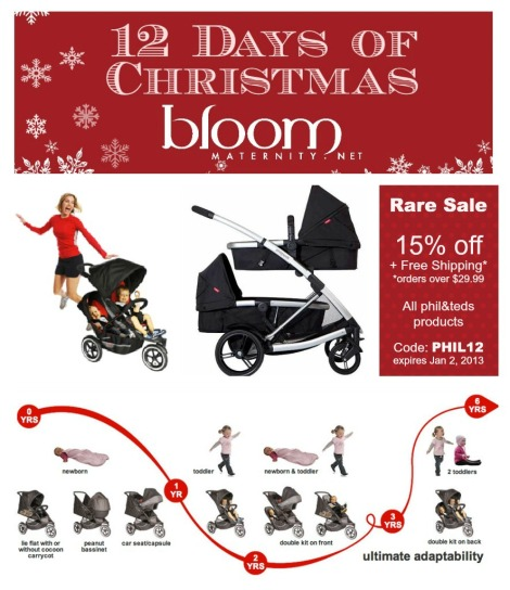 12 Days of Christmas phil&teds 15% off + free shipping | @BloomMaternity | http://bloommaternity.net