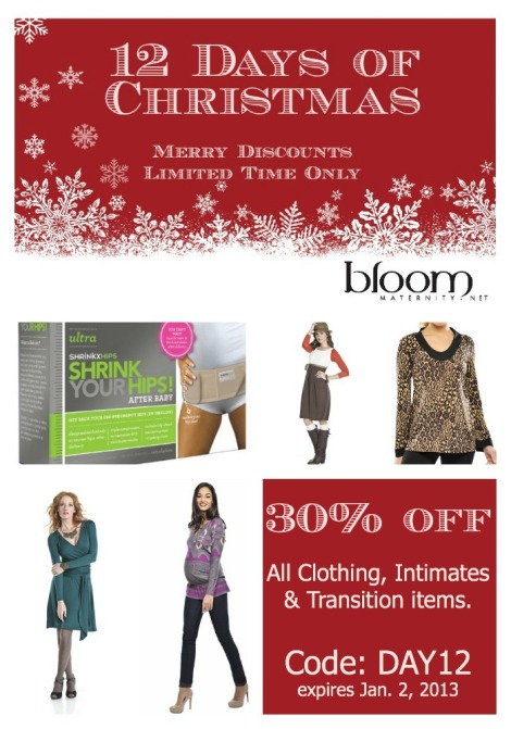 Day 12: 30% Off Maternity Clothes, Intimates & Transition Items | http://bloommaternity.net | @BloomMaternity